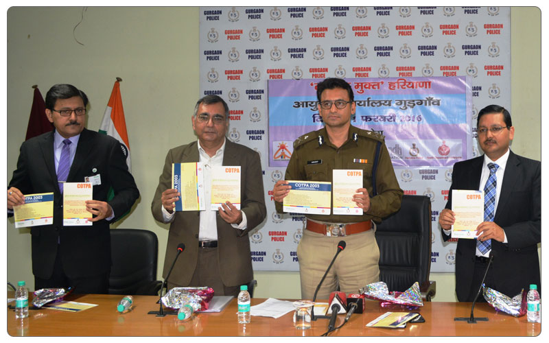 Mr Virk, Commissioner of Police, Gurgaon Releasing COTPA booklet for Tobacco Control